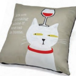 Accent Pillow - It's Not Drinking Alone if the Cat is Home
