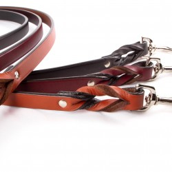 Braided Leather Leash, Two-Handled Leash, Pull/Correction Tab