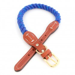 Cotton Rope with Leather Accents Collar and Leash