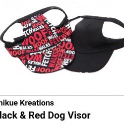 Pet Visor Black/Red Dog Words