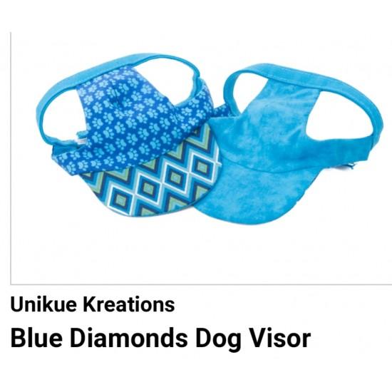 Pet Visor Blue Diamonds